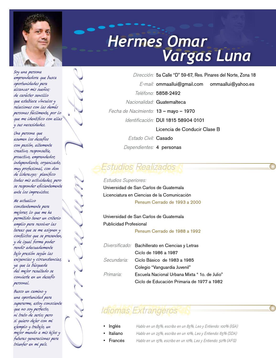 Curriculum vitae personal by Omar Vargas - issuu