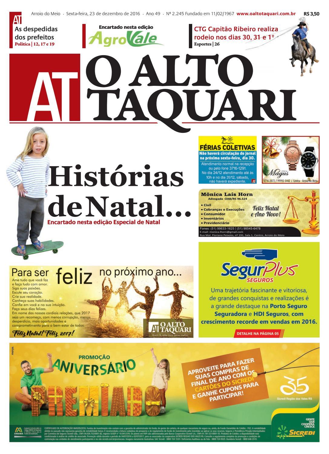 2053cd57646 Jornal O Alto Taquari - 23 de dezembro de 2016 by Jornal O Alto Taquari -  issuu