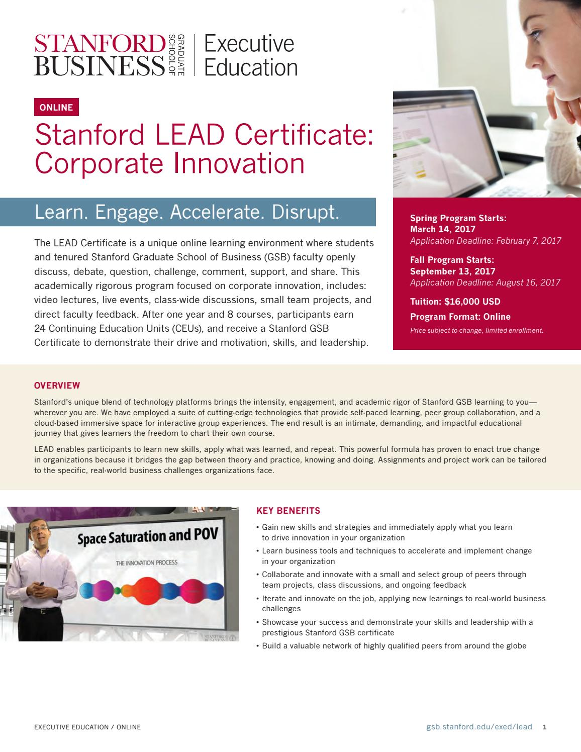 Stanford LEAD Certificate: Corporate Innovation by Stanford MSx