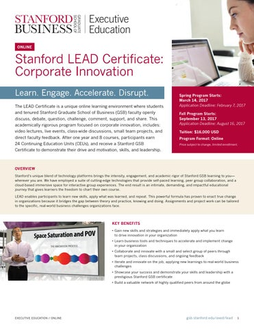 Stanford LEAD Certificate: Corporate Innovation by Stanford MSx ...