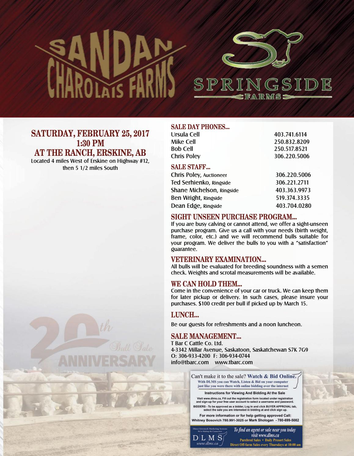 Sandan Charolais & Springside Farms 20th Annual Bull Sale