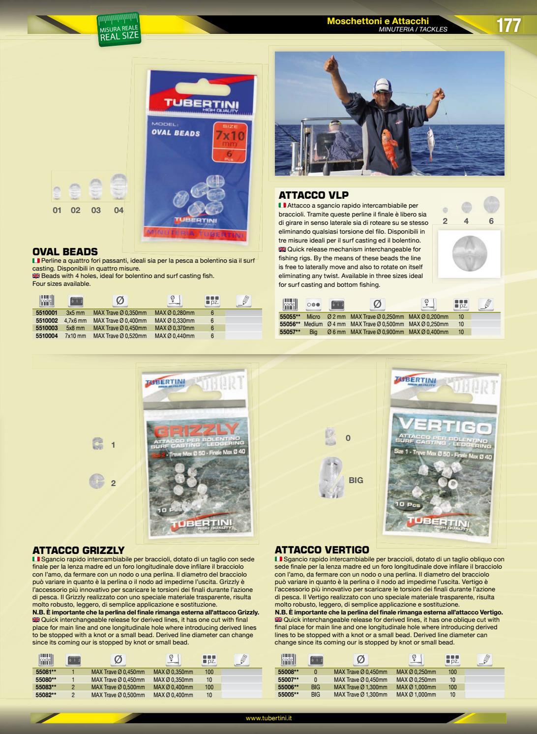 PERLINE A 4 FORI OVAL BEADS 7 X 10 mm TUBERTINI PESCA BOLENTINO SURF CASTING