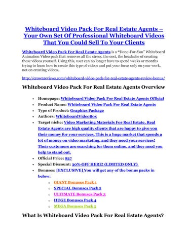 Whiteboard Video Pack For Real Estate Agents Your Own Set Of Professional Videos That You Could Sell To Clients