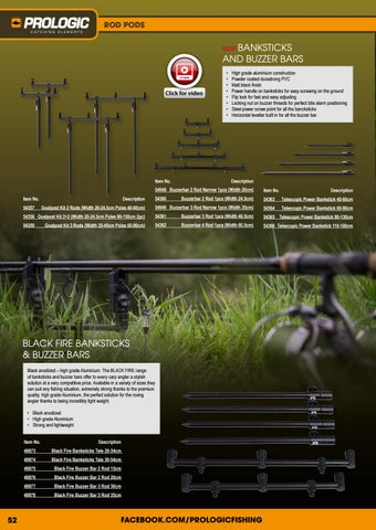 Pro Logic Black Fire Buzz Bar Rod Supports ALL SIZES