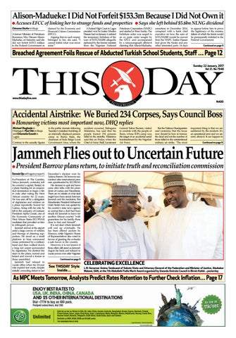 Sunday 22nd January 2017 By Thisday Newspapers Ltd Issuu