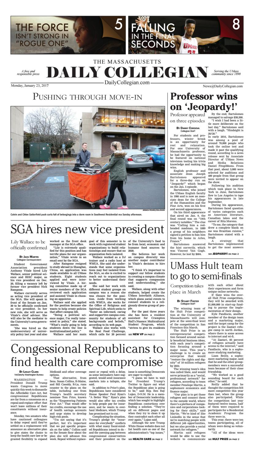 The Massachusetts Daily Collegian: January, 23rd 2017 by