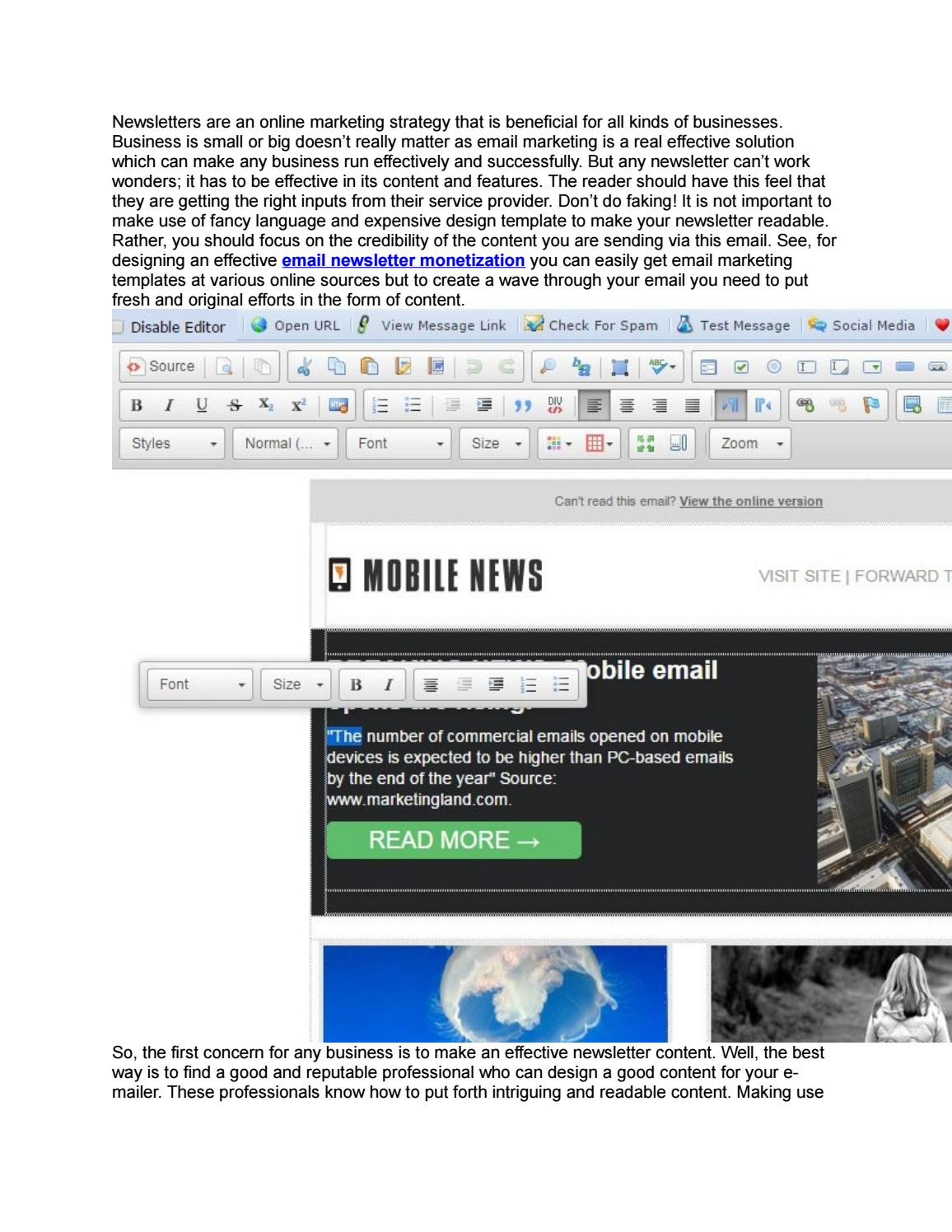 Email newsletter templates are an effective way to monetize the ...