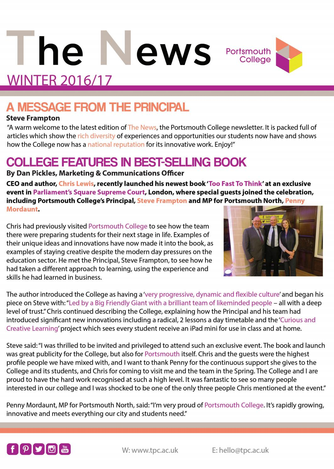 portsmouth college newsletter winter 16 17 by portsmouth college issuu. Black Bedroom Furniture Sets. Home Design Ideas