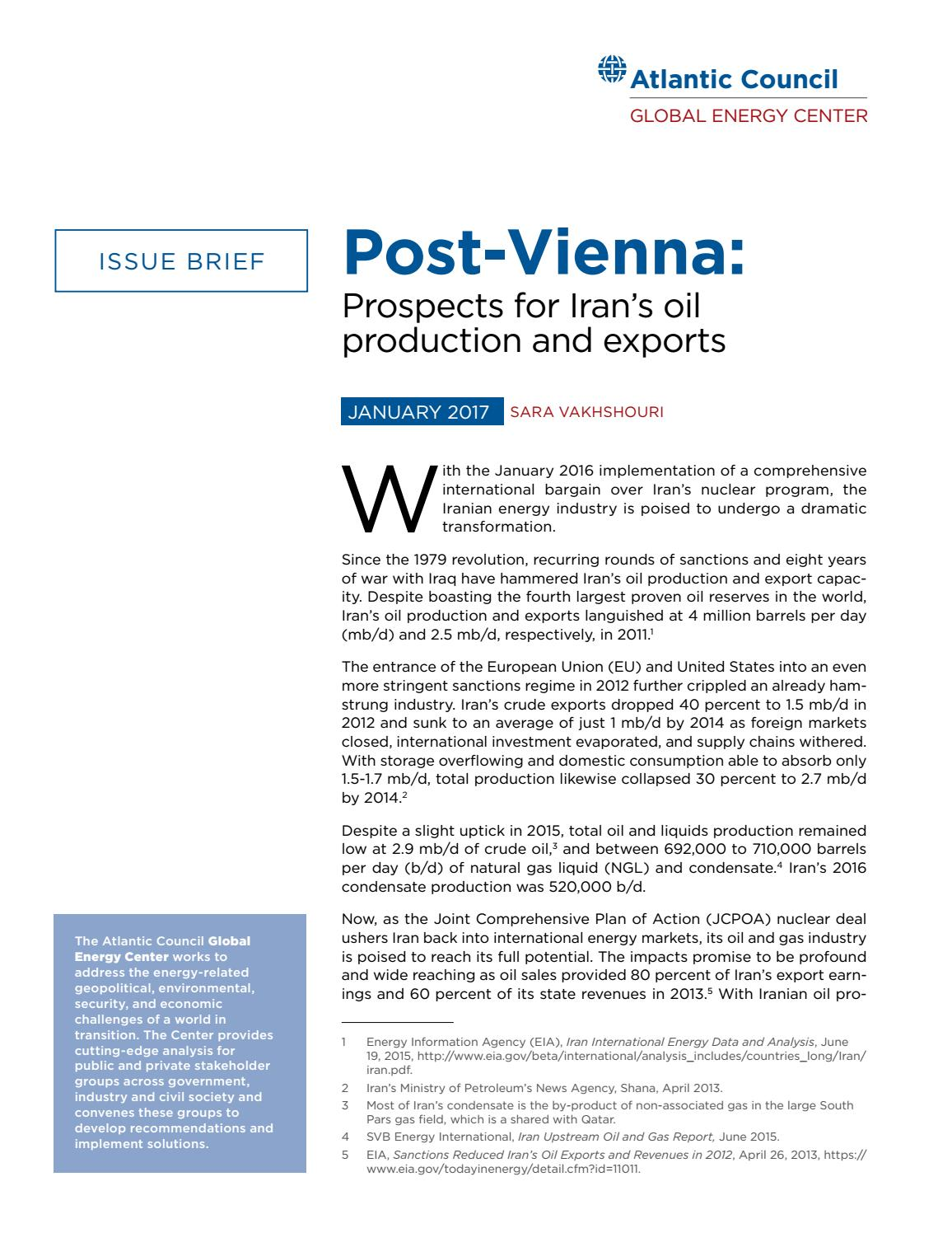 Post-Vienna: Prospects for Iran's Oil Production and Exports