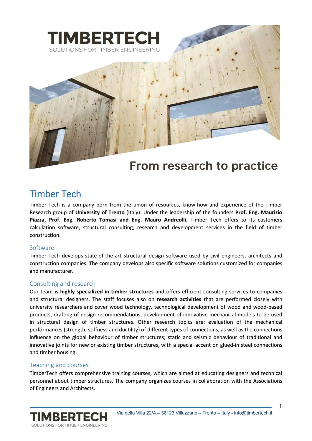 Timbertech Software For The Design Of Timber Structures By Timbertech Issuu