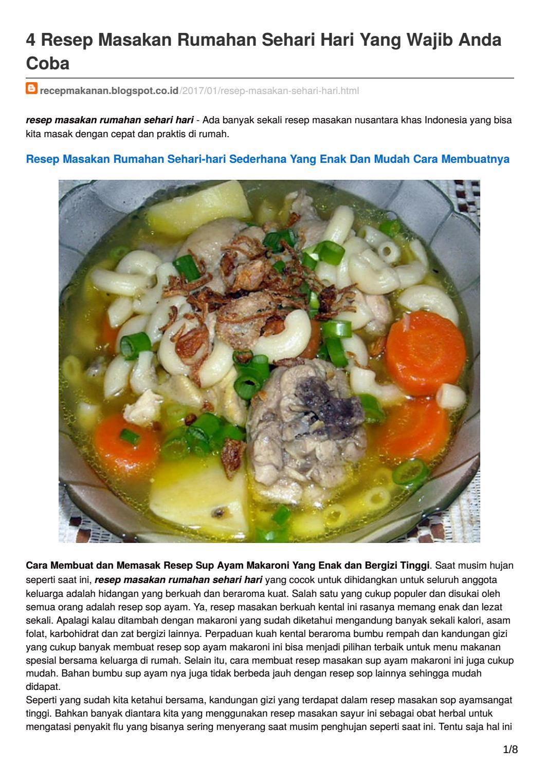 4 Resep Masakan Rumahan Sehari Hari Yang Wajib Anda Coba By Frian