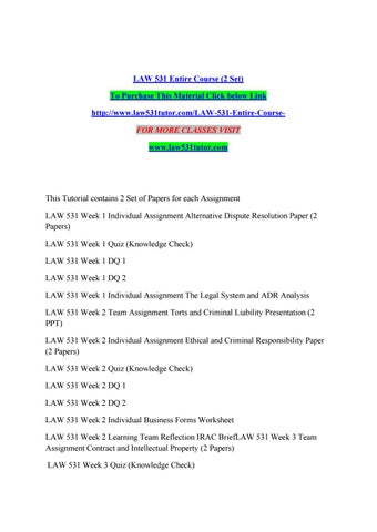 LAW 531 Week 1 Assignment : The Legal System and ADR Analysis