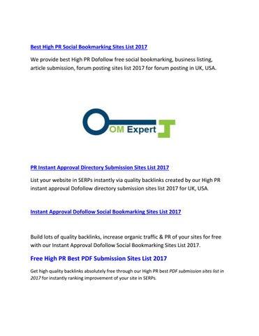 High PR Free RSS Feed Submission Sites List by Omexpert - issuu