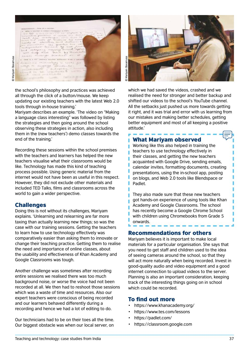Teaching and technology case studies from India