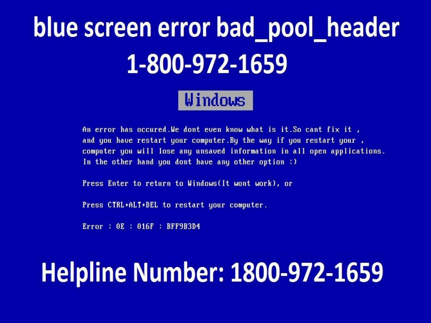 Blue Screen Error In Windows 7 And Restart Solution by