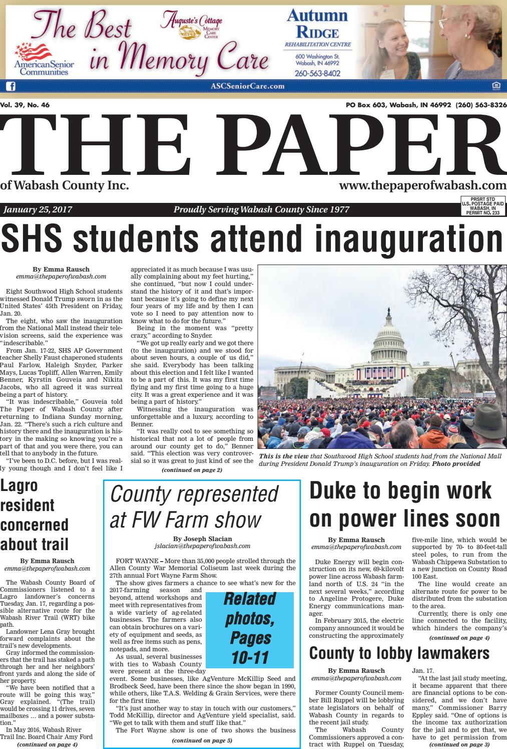 Indiana wabash county lagro - The Paper Of Wabash County Jan 25 2017 Issue By The Paper Of Wabash County Issuu
