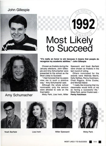 most likely to high school awards  Burkburnett High School Yearbook Derrick 1992 by Designworks Group ...