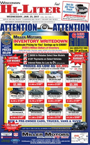 Wihl 1 25 by southern lakes newspapers issuu for Miller motors burlington wisconsin