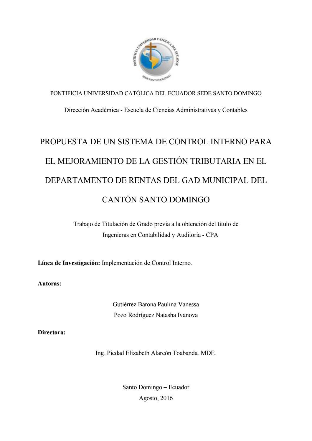 Propuesta de un sistema de control interno para el mejoramiento de ...