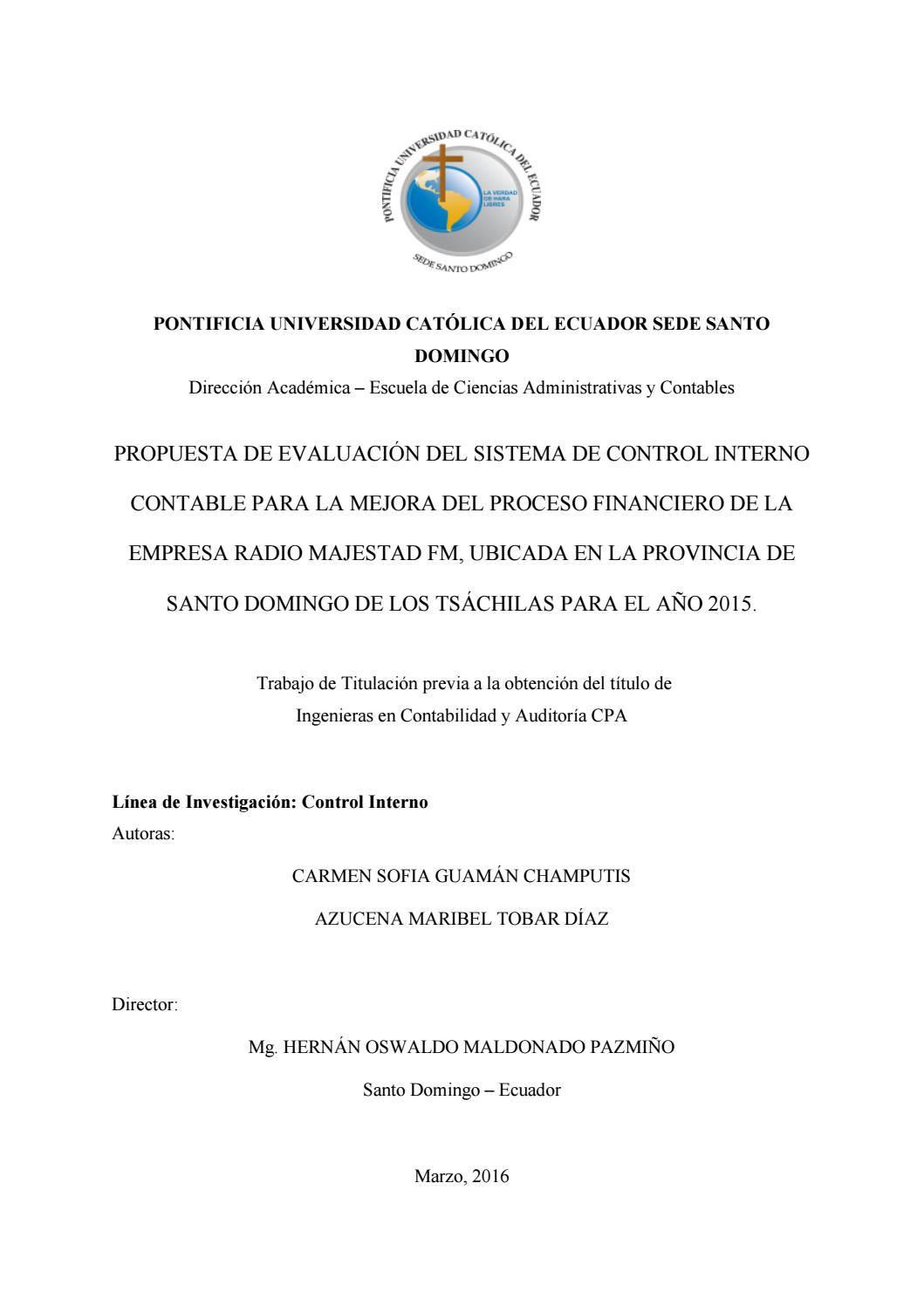 Propuesta de evaluación del sistema de control interno contable para ...