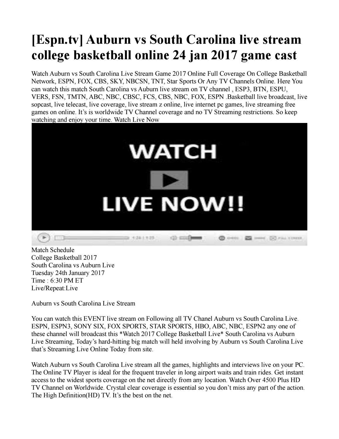 Espn Tv Auburn Vs South Carolina Live Stream College
