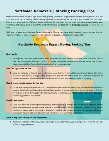moving packing checklist