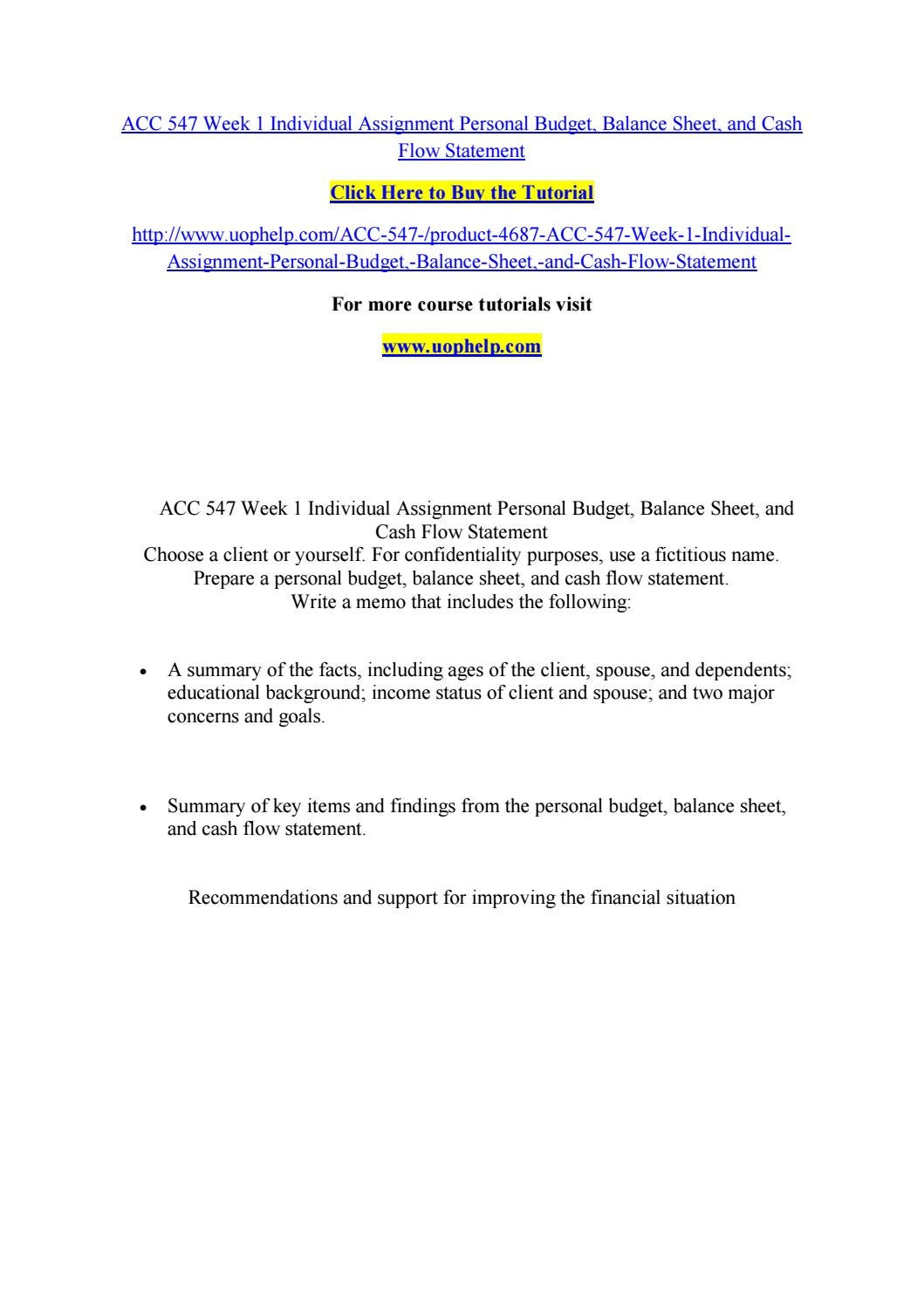 acc 547 week 1 individual assignment personal budget balance sheet