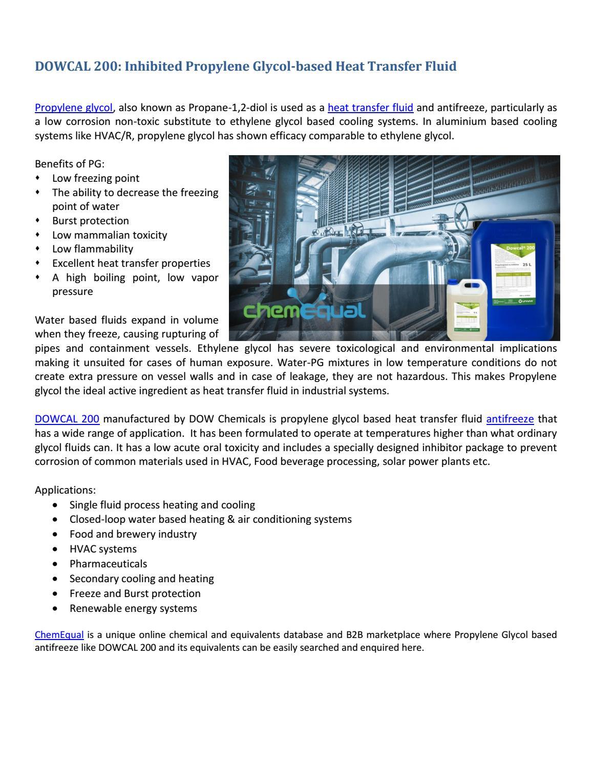 DOWCAL 200 Inhibited Propylene Glycol based Heat Transfer