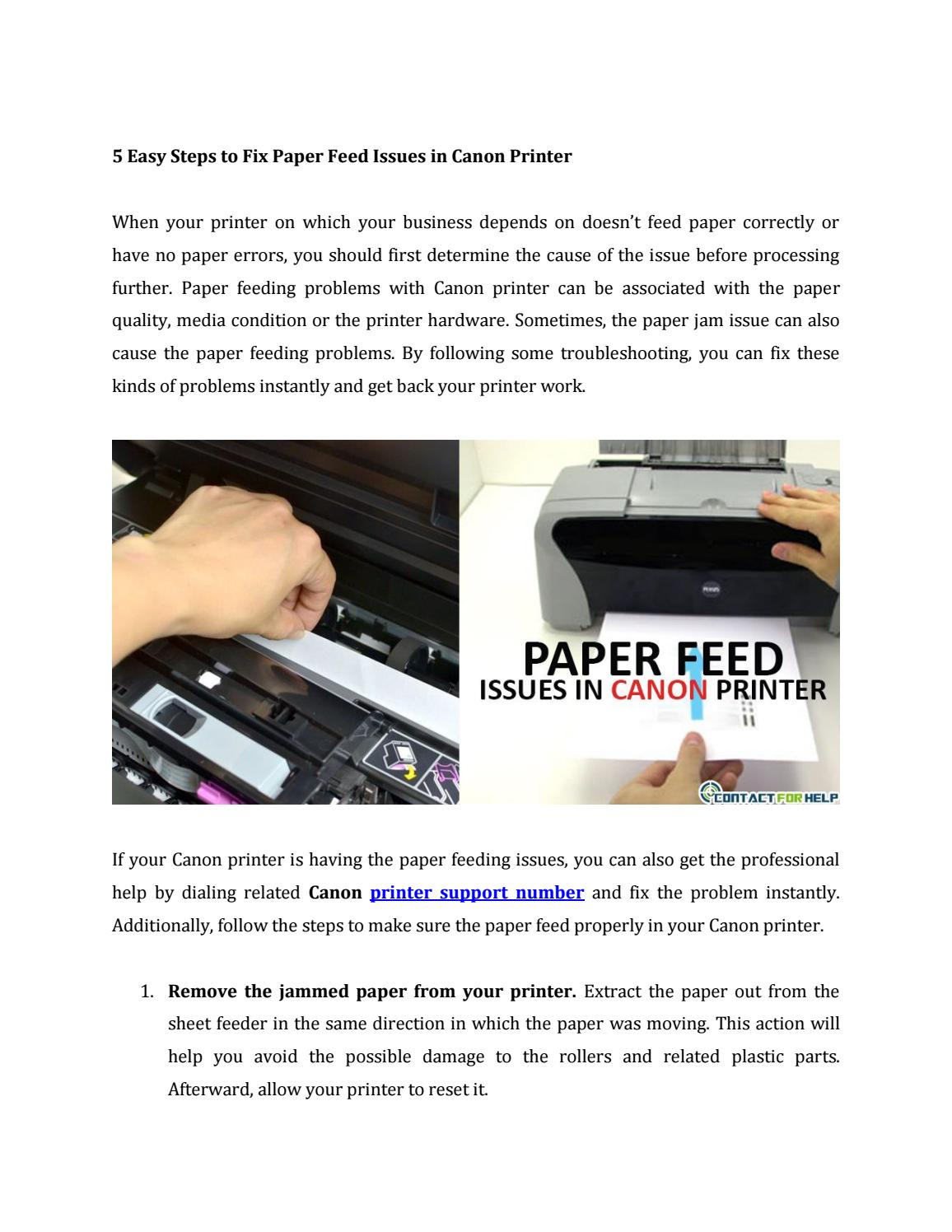 Fix Paper Feed Issues in Canon Printer by contactforhelp - issuu