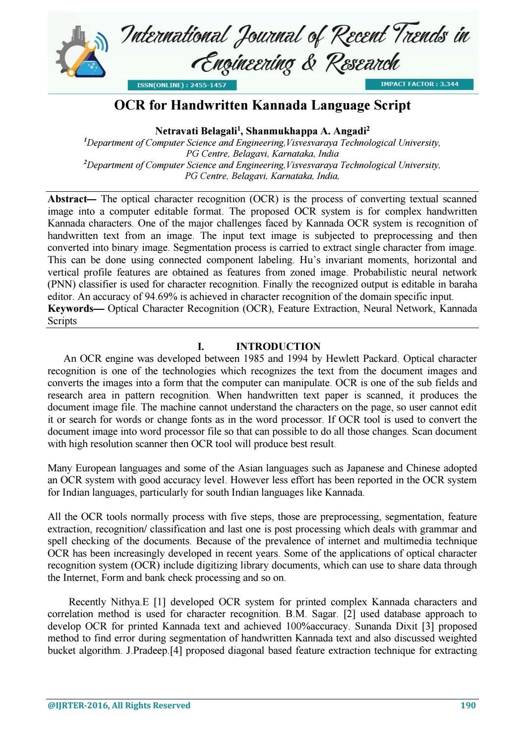 Ocr for handwritten kannada language script by IJRTER - issuu
