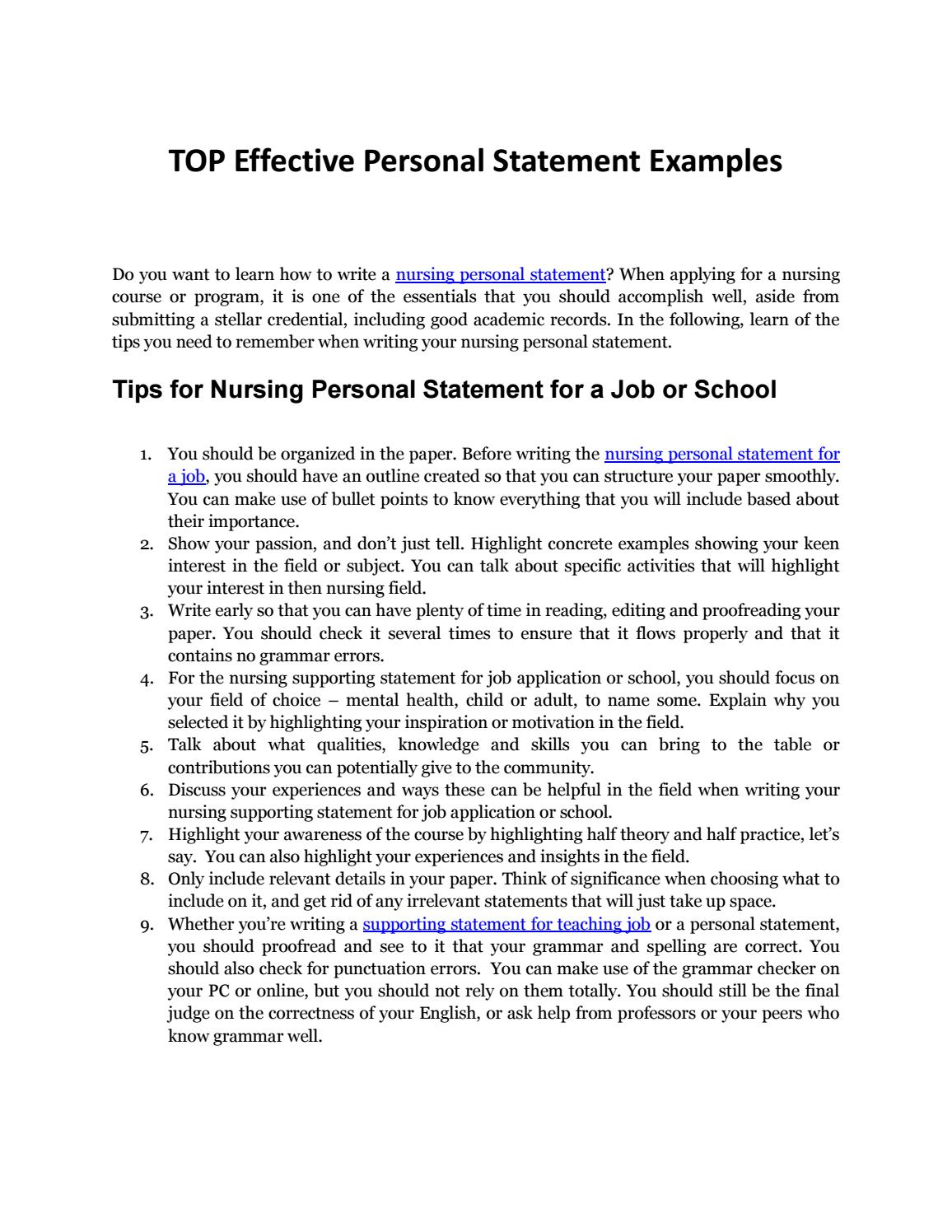 Nursing Personal Statement Tips And Samples In Writing By