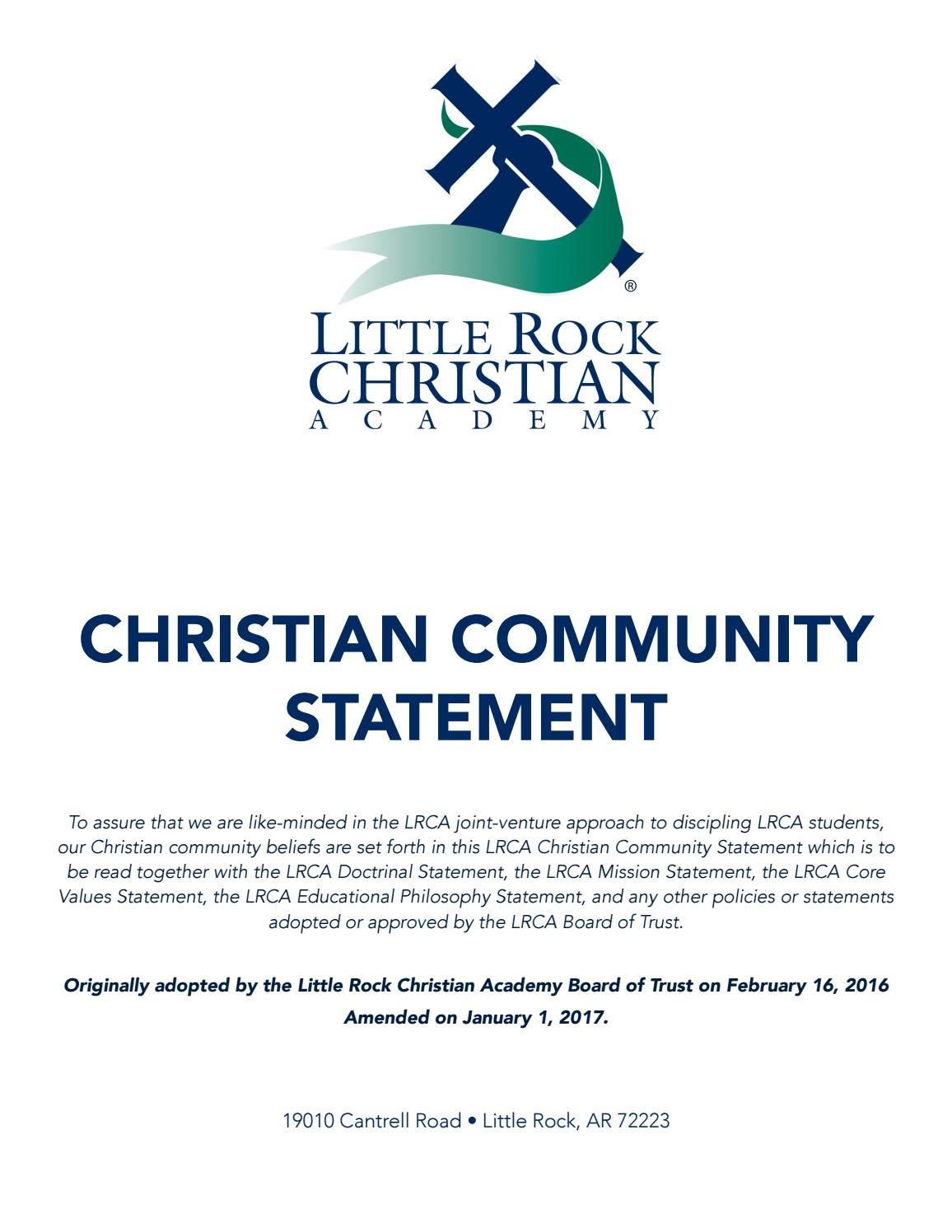 christian community statement little rock christian academy christian community statement 2 months ago lrca