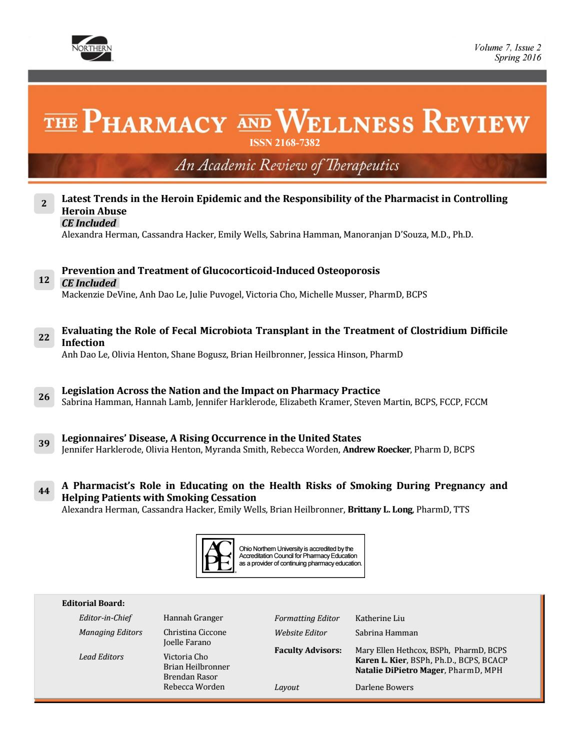 Pharmacy And Wellness Review January 2017 By Onu Communications