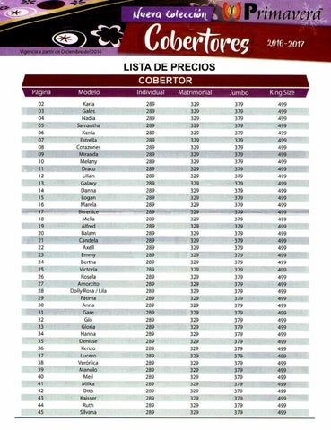 Catalogo de cobertores primavera precios 2017 by for Catalogo bricoman elmas 2017