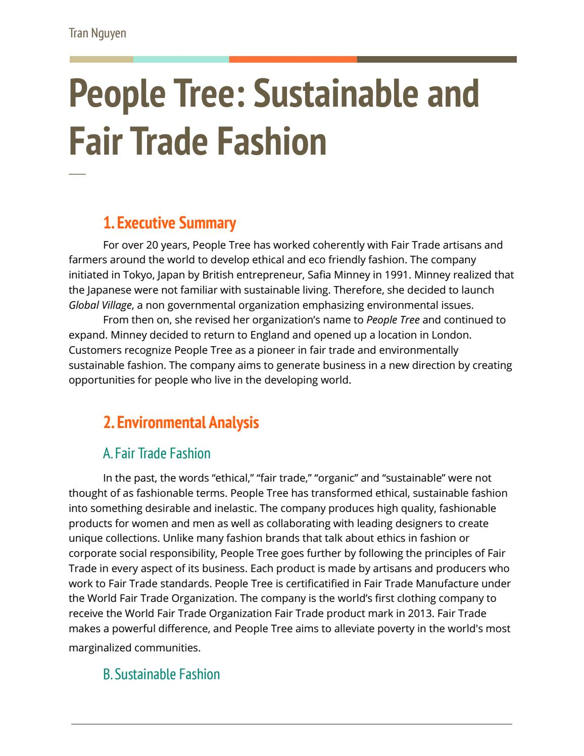 People Tree Sustainable Fair Trade Fashion Marketing Plan By Tran Nguyen Issuu
