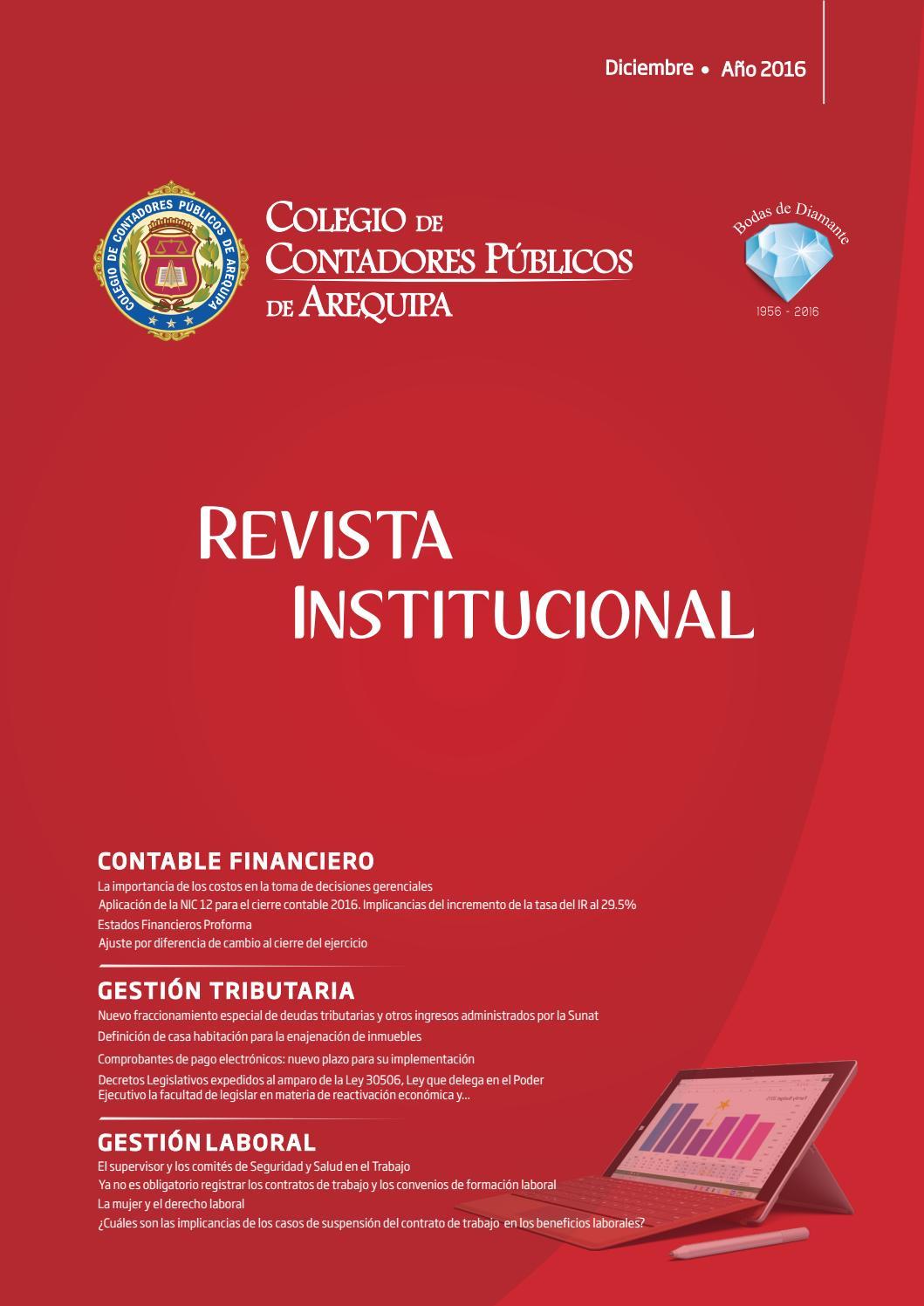 Revista Institucional - Diciembre 2016 by Colegio de Contadores ...