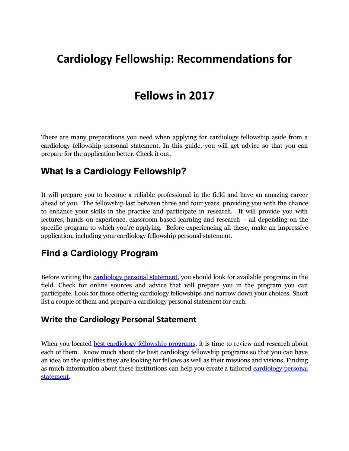 cardiology fellowship application personal statement Types of expository writing cardiology fellowship personal statement sample homework help genetic problems foreshadowing in a tale of two cities.
