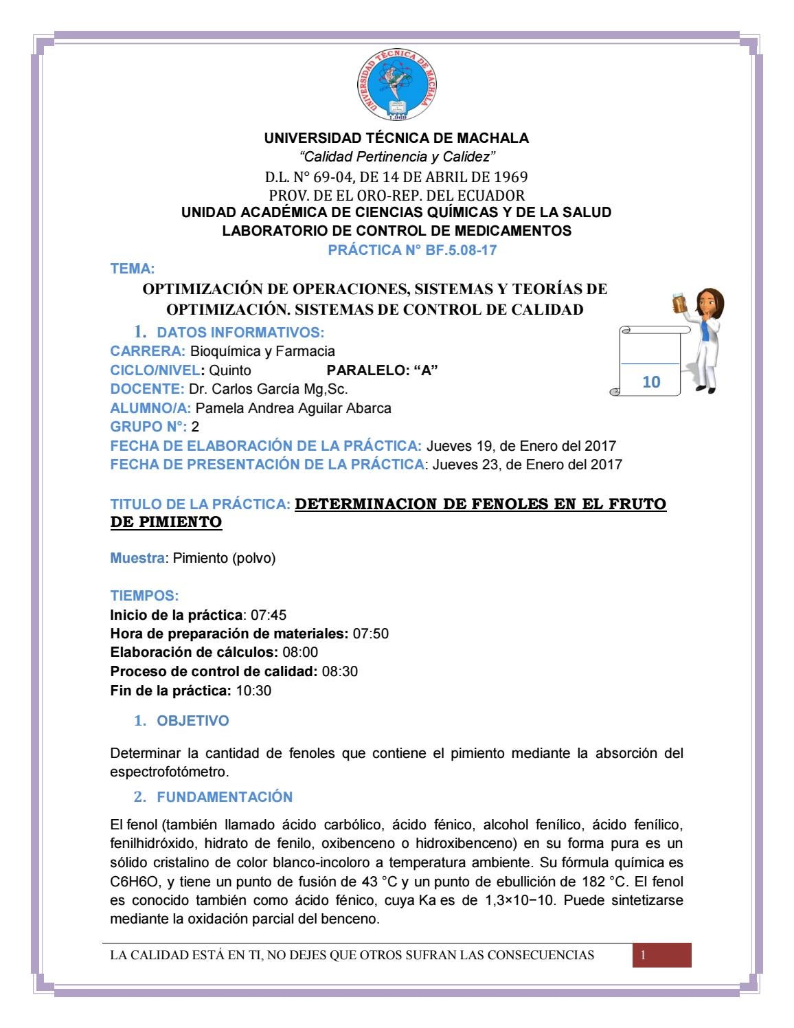 Practica 17 fenoles by Pamela Aguilar - issuu