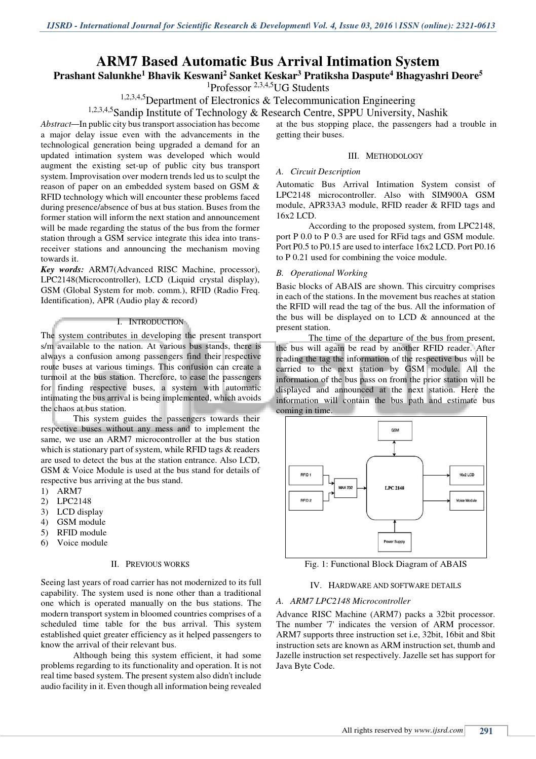 ARM7 Based Bus Arrival Intimation System by International Journal