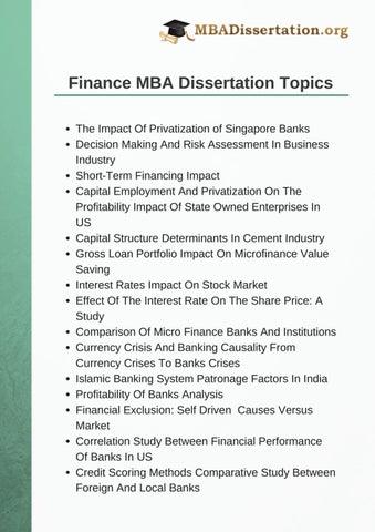 Mba dissertations master dissertation