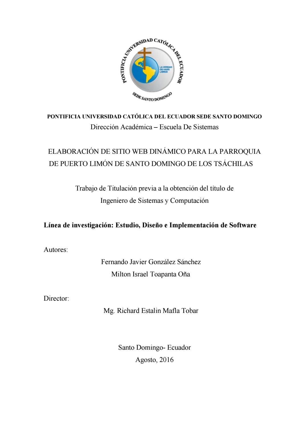Elaboración de un sitio Web dinámico para la parroquia de Puerto ...