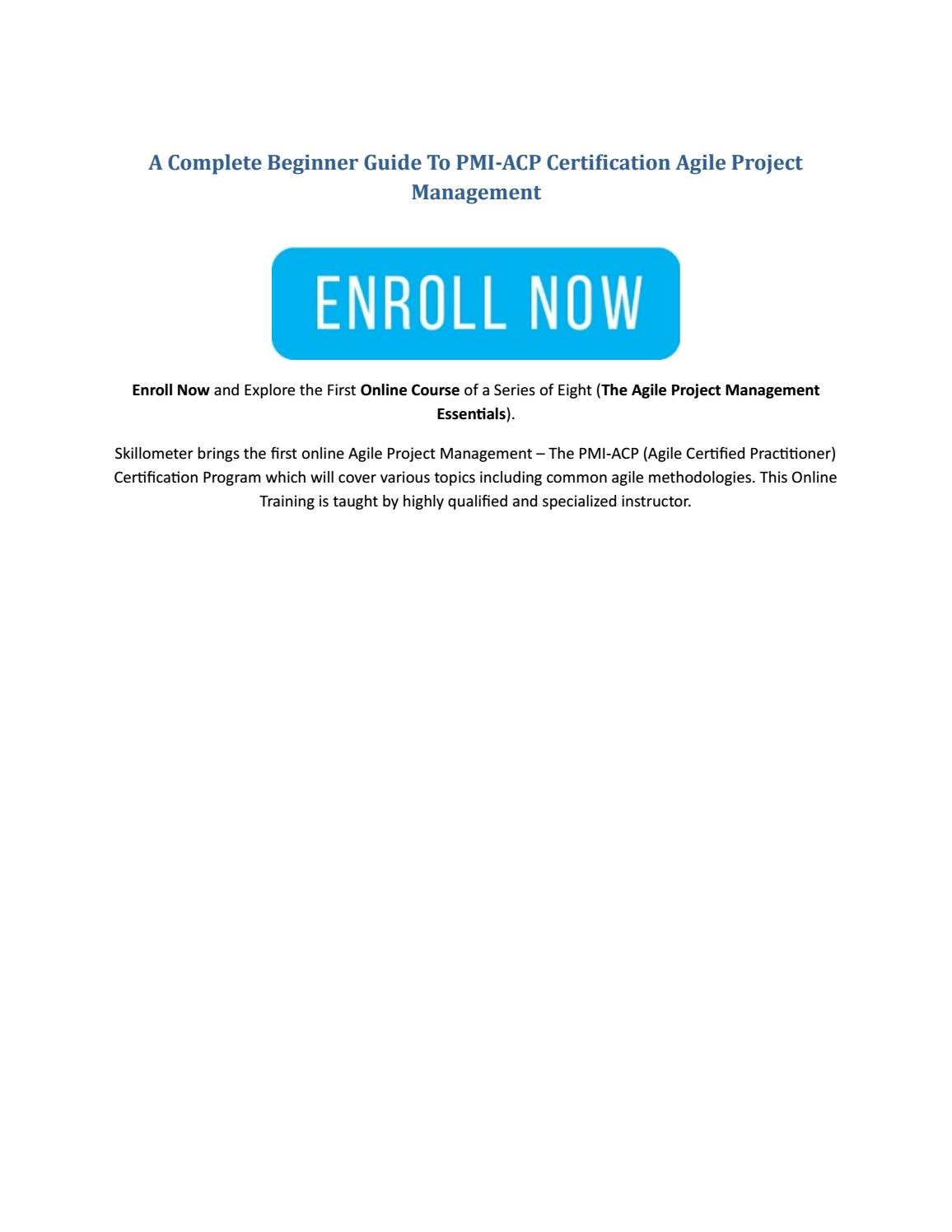 A Complete Beginner Guide To Pmi Acp Certification Agile Project
