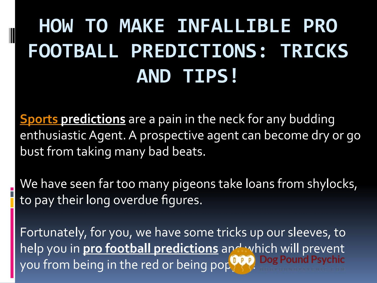 How to make pro football predictions by arloKK - issuu