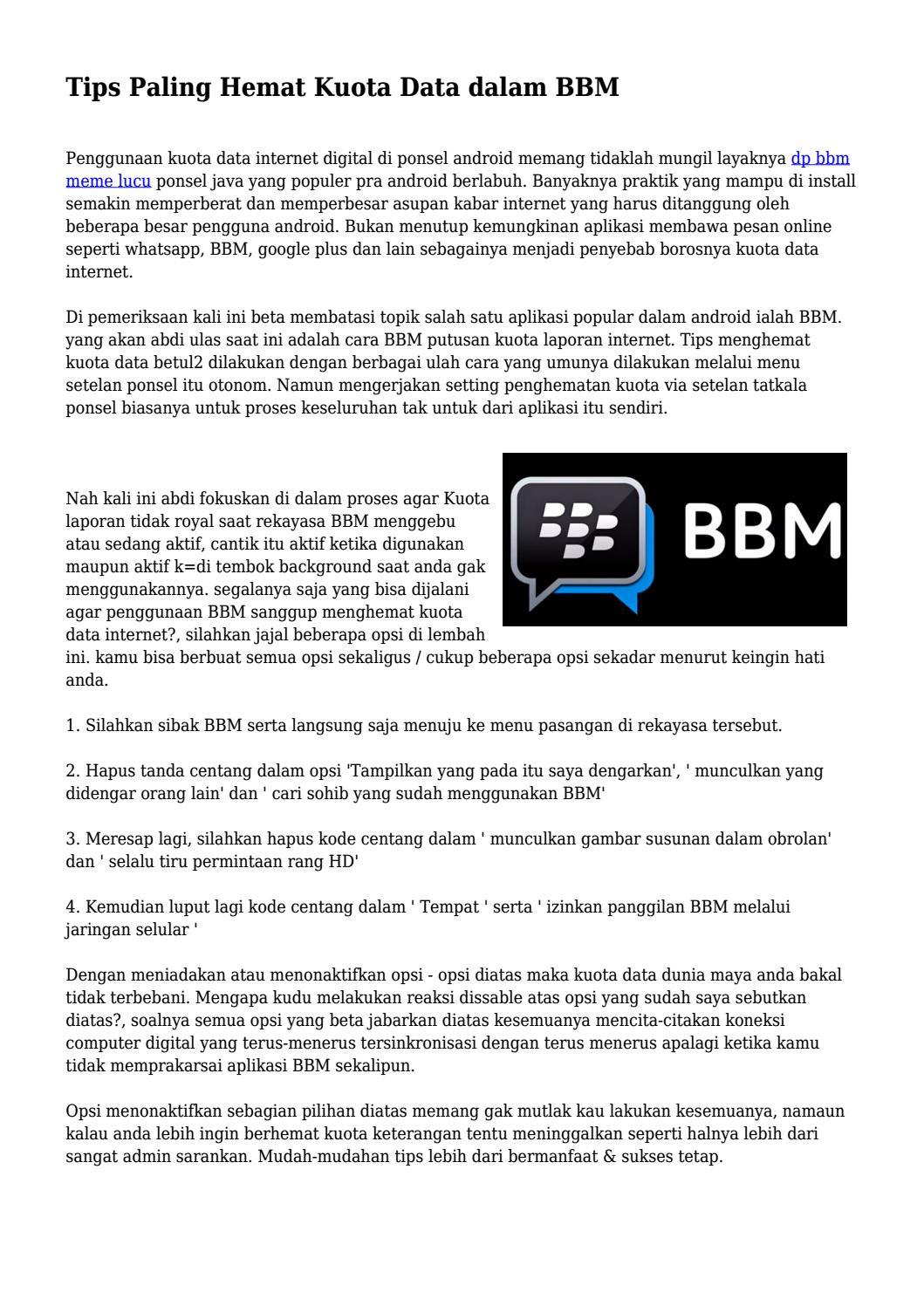 Tips Paling Hemat Kuota Data Dalam BBM By Cepattekno