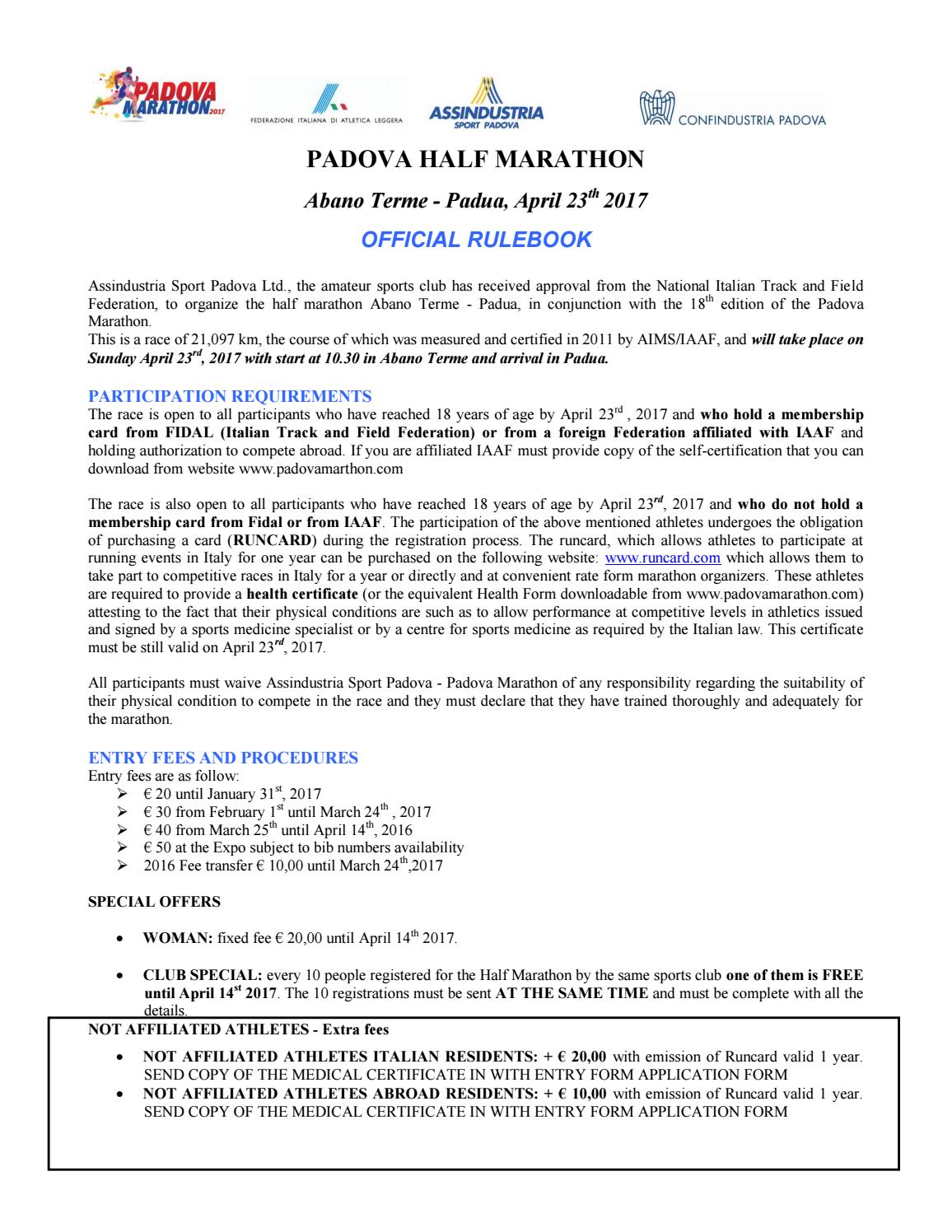 Half marathon rulebook by padovamarathon issuu 1betcityfo Image collections