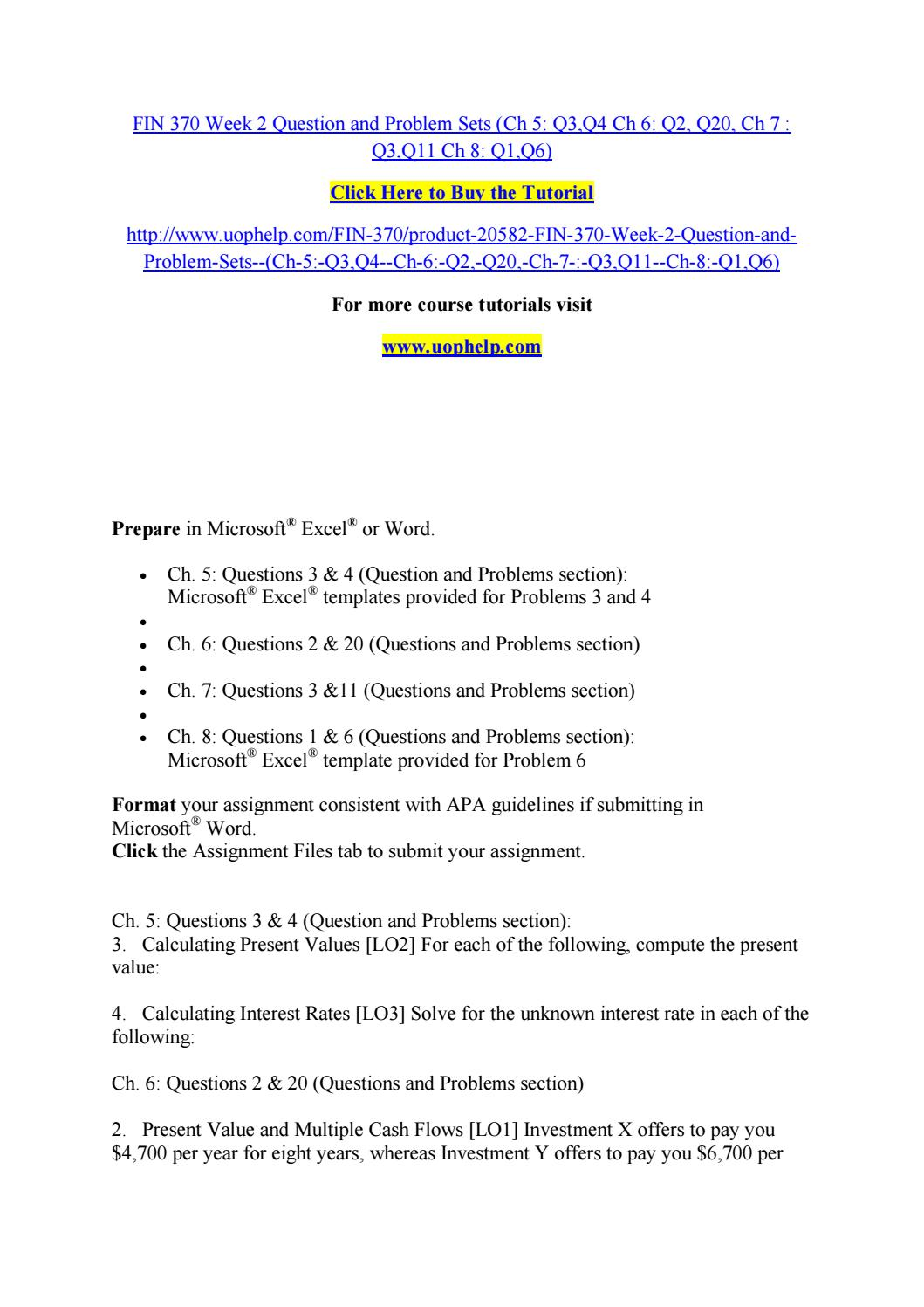 fin 370 chapter sutdy questions week Full text of course catalog, 1993-1994 see other formats.
