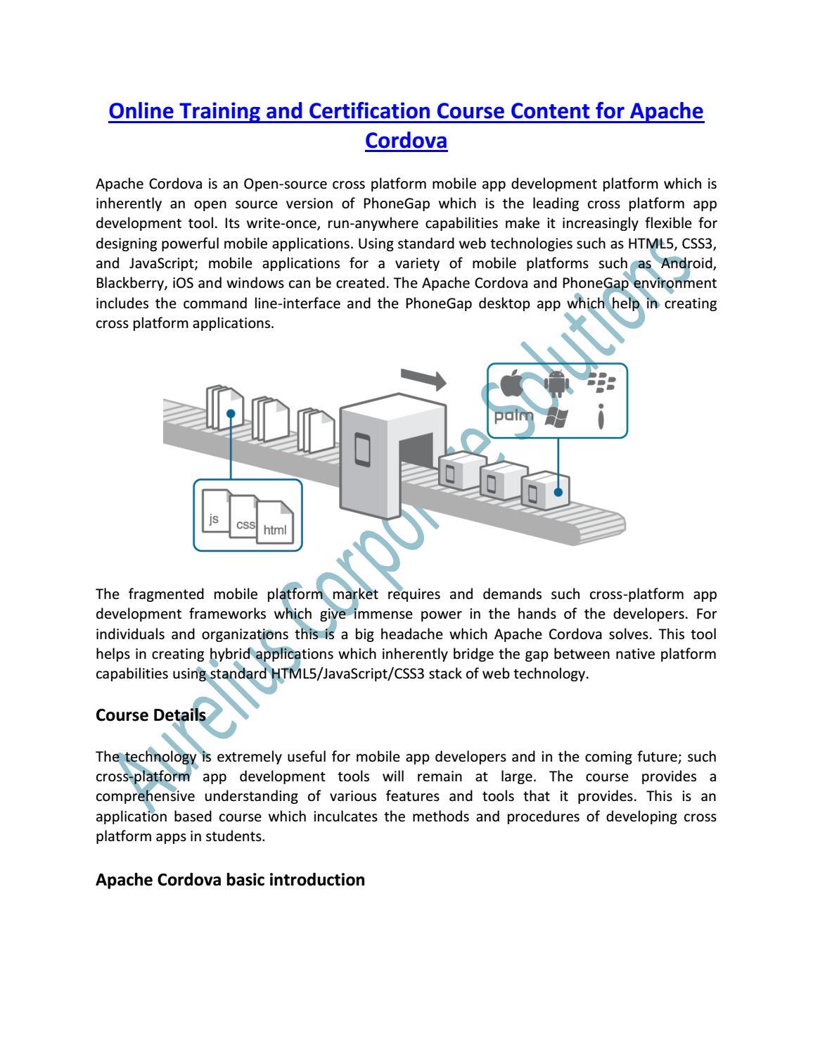 Apache Cordova Online Training Course in Delhi/NCR by