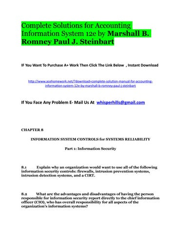 accounting information systems 12e romney steinbart 746 pages instructor solution manual for accounting information systems, 12e uploaded by.