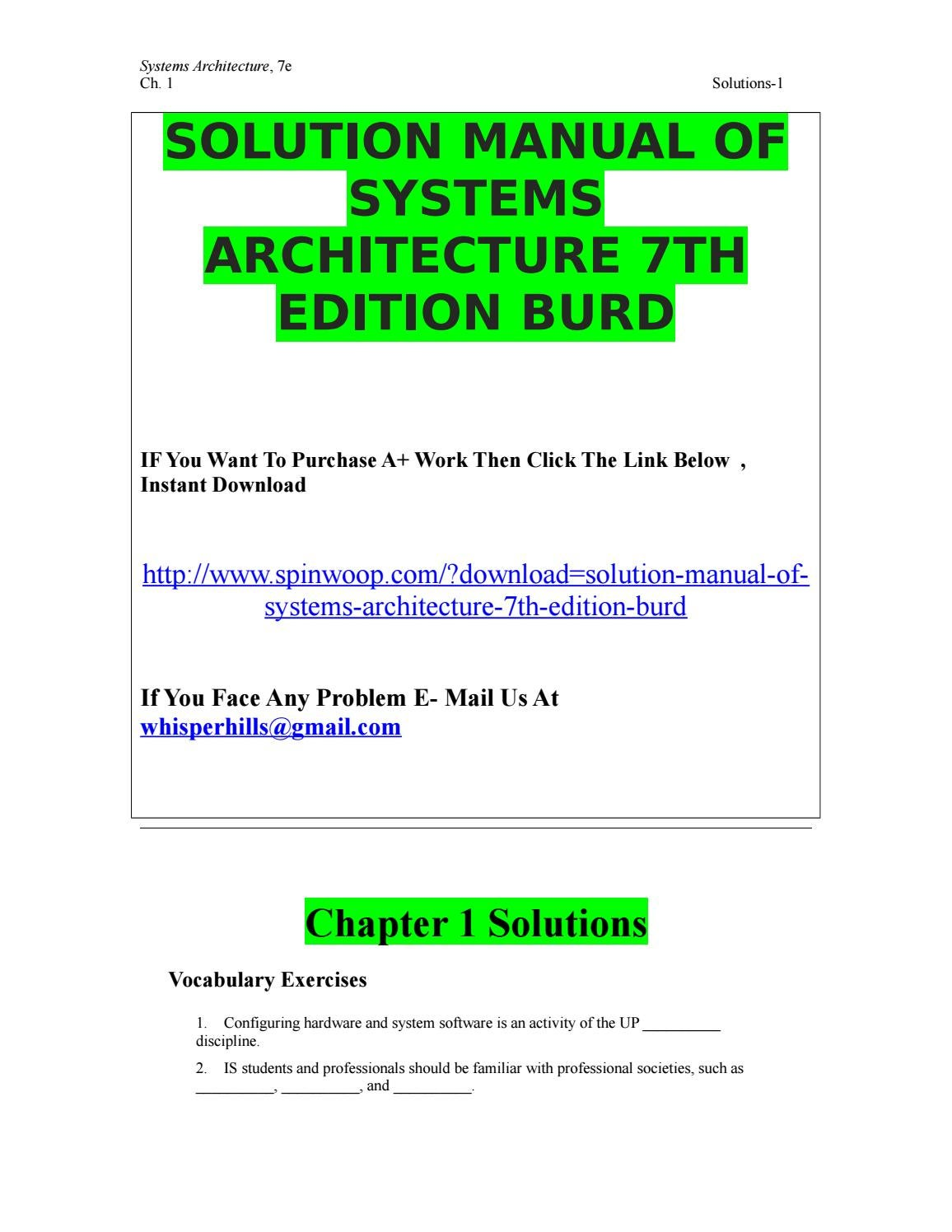Solution manual of systems architecture 7th edition burd by asmacandy -  issuu
