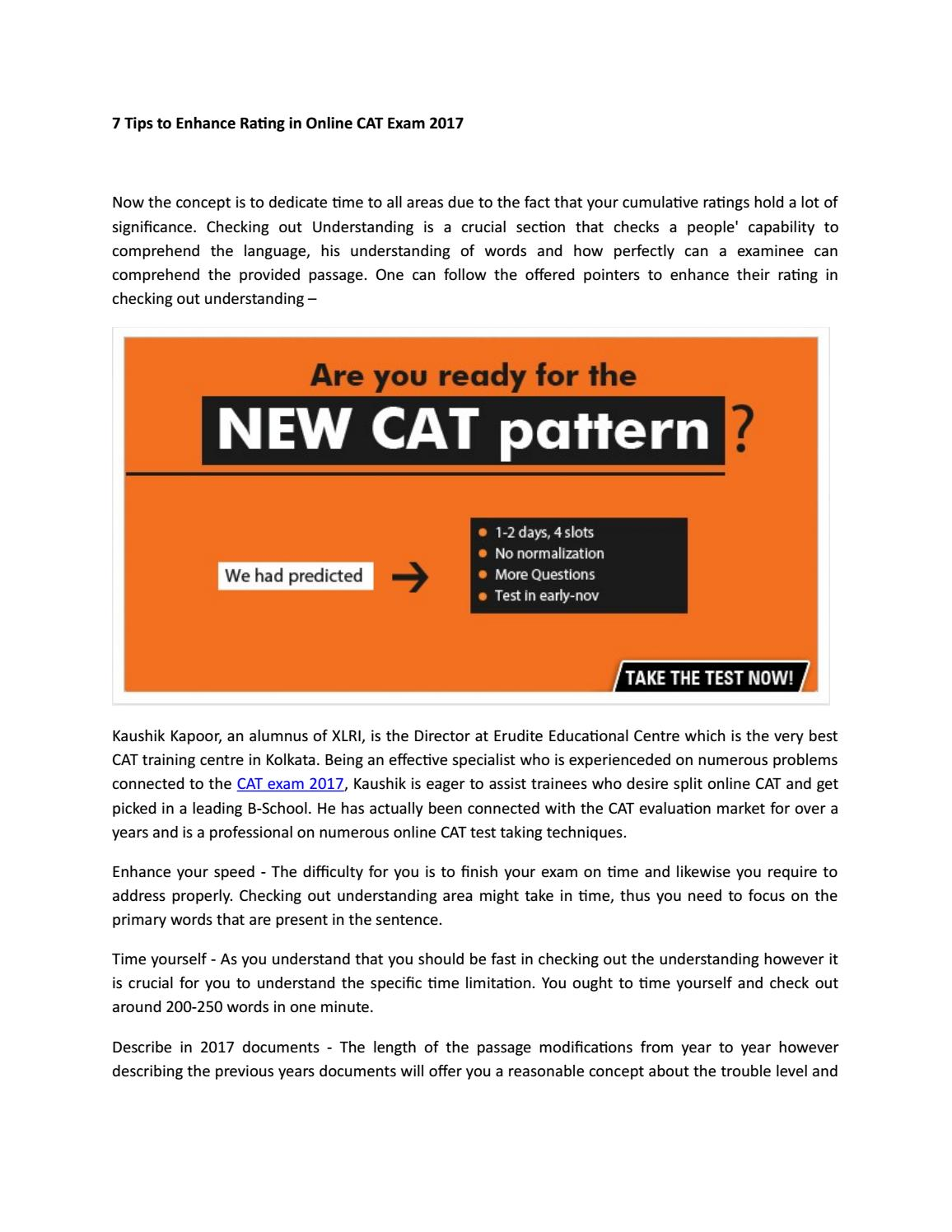 7 tips to enhance rating in online cat exam 2017 by College Guide